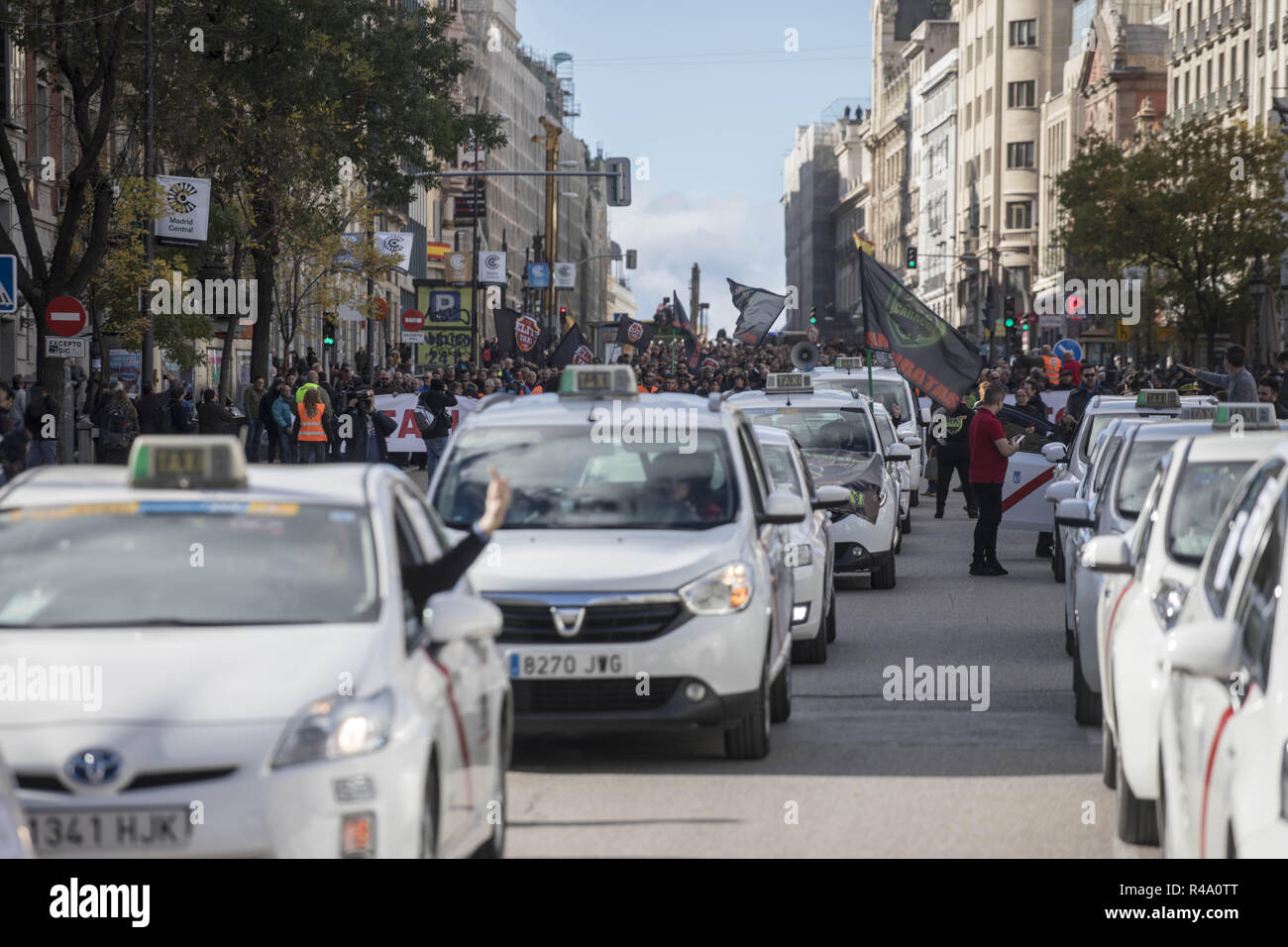 Madrid, Madrid, Spain  26th Nov, 2018  Several taxi are seen