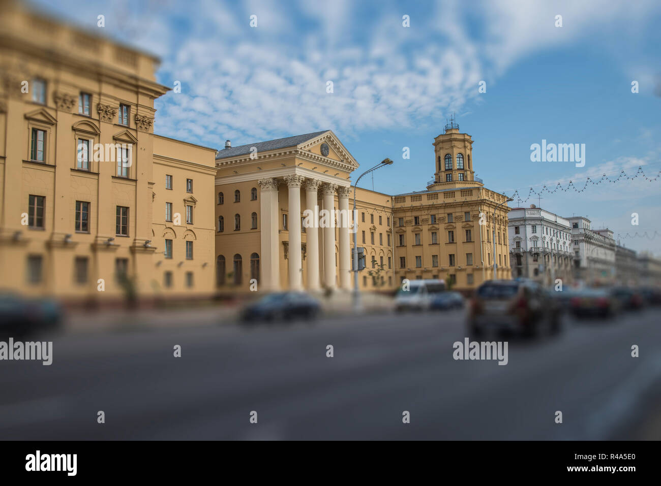 KGB building in the center of the city of Minsk. Belarus. - Stock Image