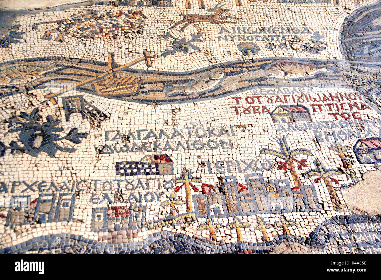 Fragment of ancient floor byzantine mosaic with map of Holy Land on floor of Madaba St George Church, Jordan, Middle East Stock Photo