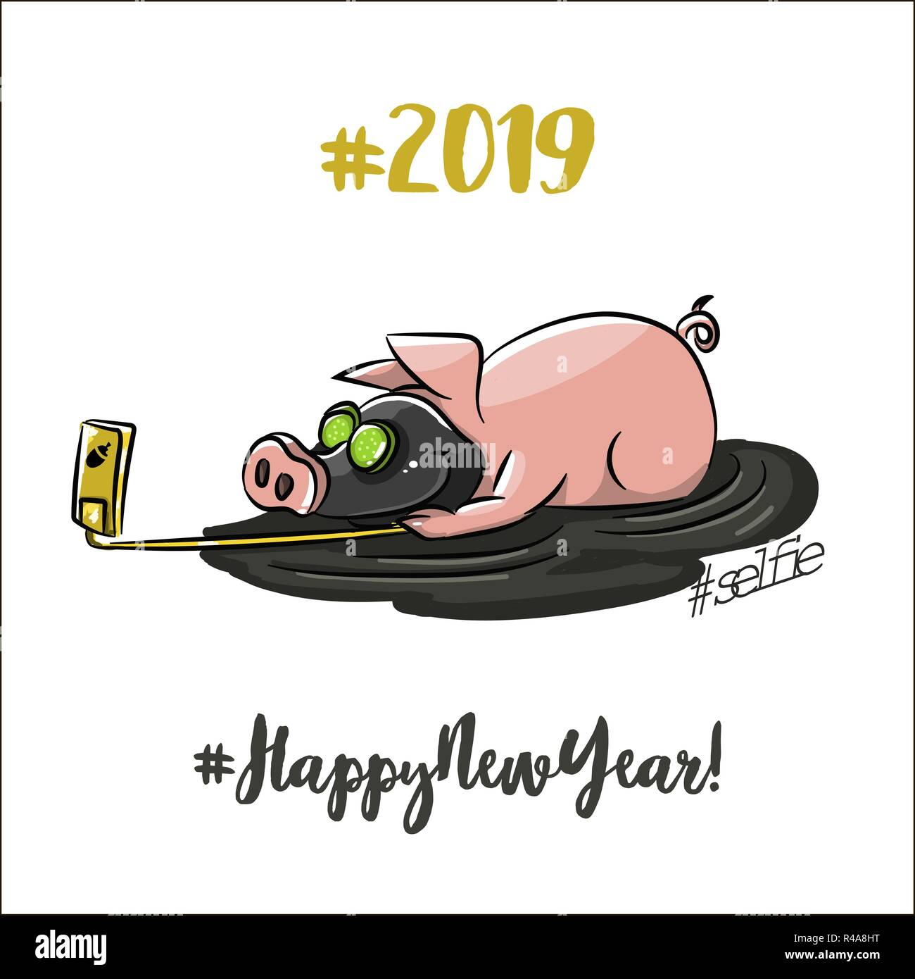Funny Pink Pigs 2019 Chinese New Year Symbols Cartoon Characters