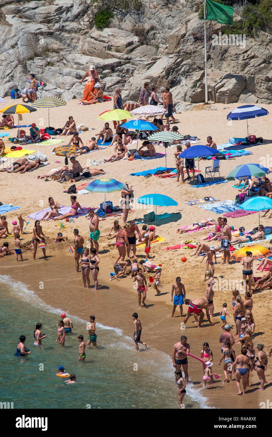 summer at cala sa baodella, platja beach, lloret de mar catalonia, spain. - Stock Image