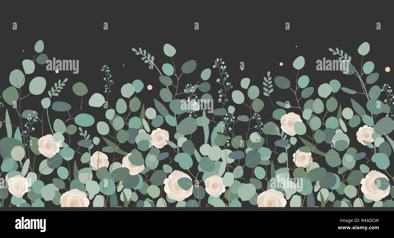 Elegant seamless border from roses and eucalyptus branches. Floral garland. Vector illustration - Stock Vector