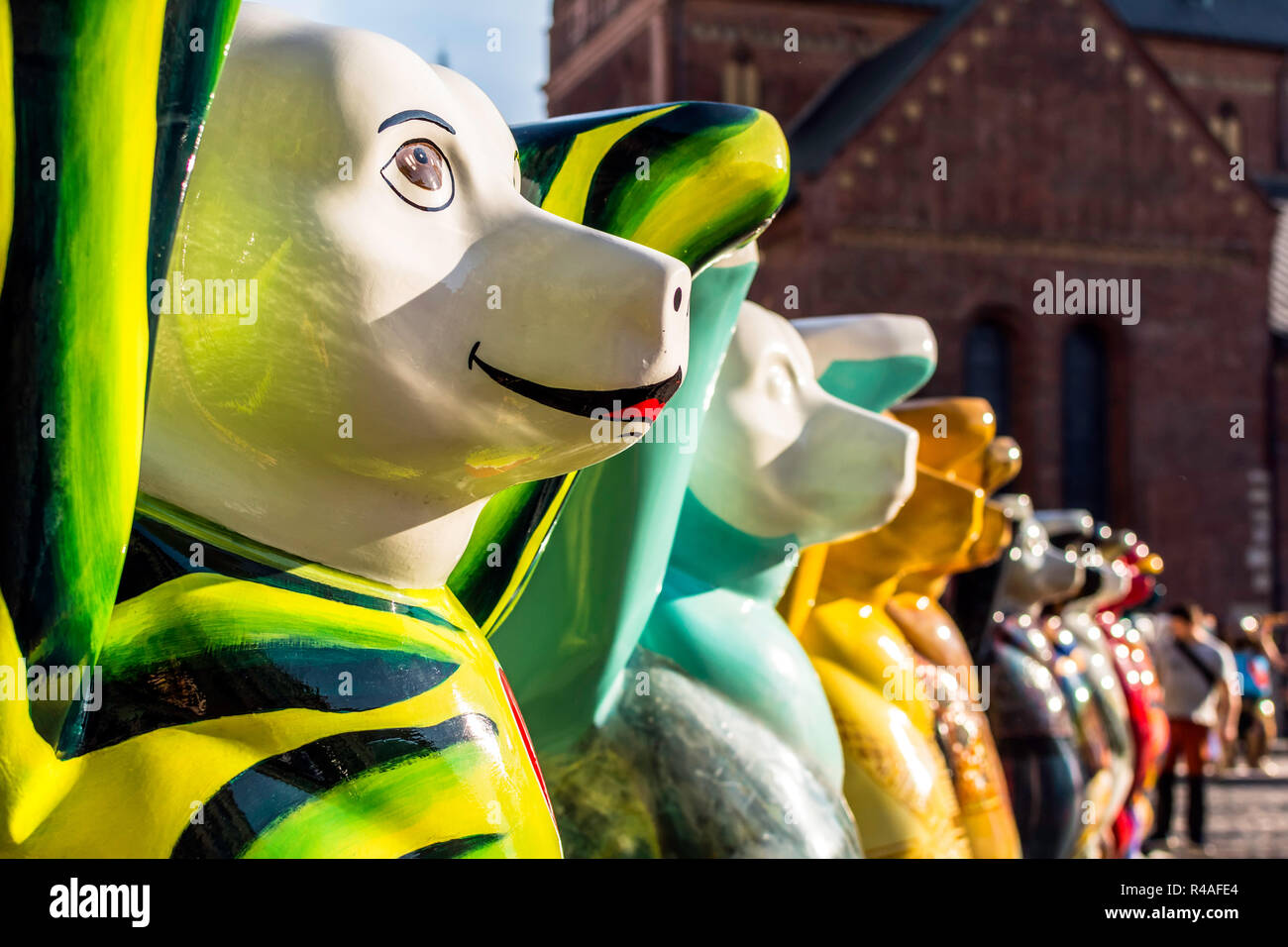 Colorful bears at United Buddy Bears international art exhibition. Circle of Bears was created to make people think about tolerance. - Stock Image