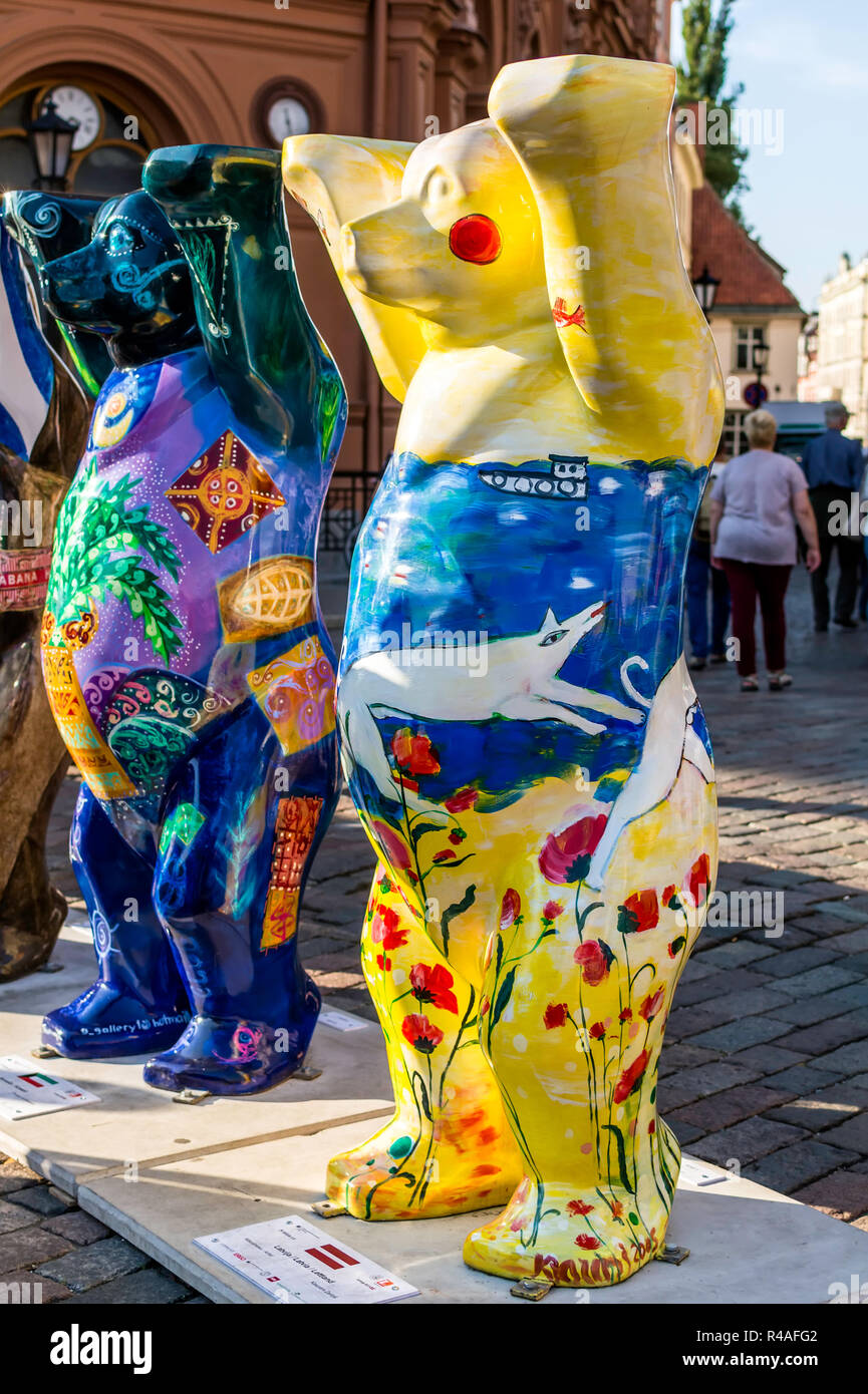 Latvia bear at United Buddy Bears international art exhibition (Artist: Kaspars Zarins). The exhibition promotes peace, love, tolerance. - Stock Image