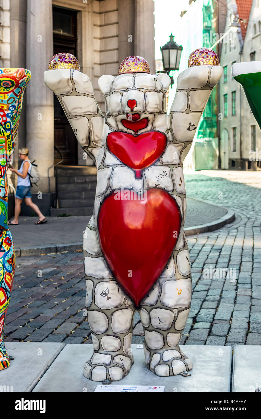 Israel bear at United Buddy Bears international art exhibition (Artist: Ruslan Sergeev). The exhibition promotes peace, love, tolerance. - Stock Image