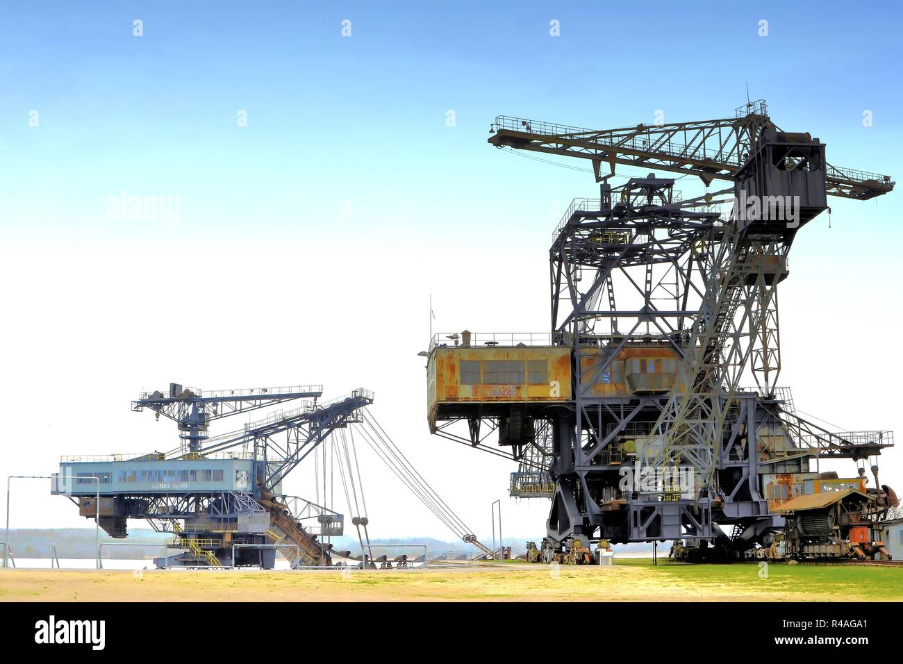rusty coal excavator in the decommissioned lignite opencast mine Ferropolis - Stock Image