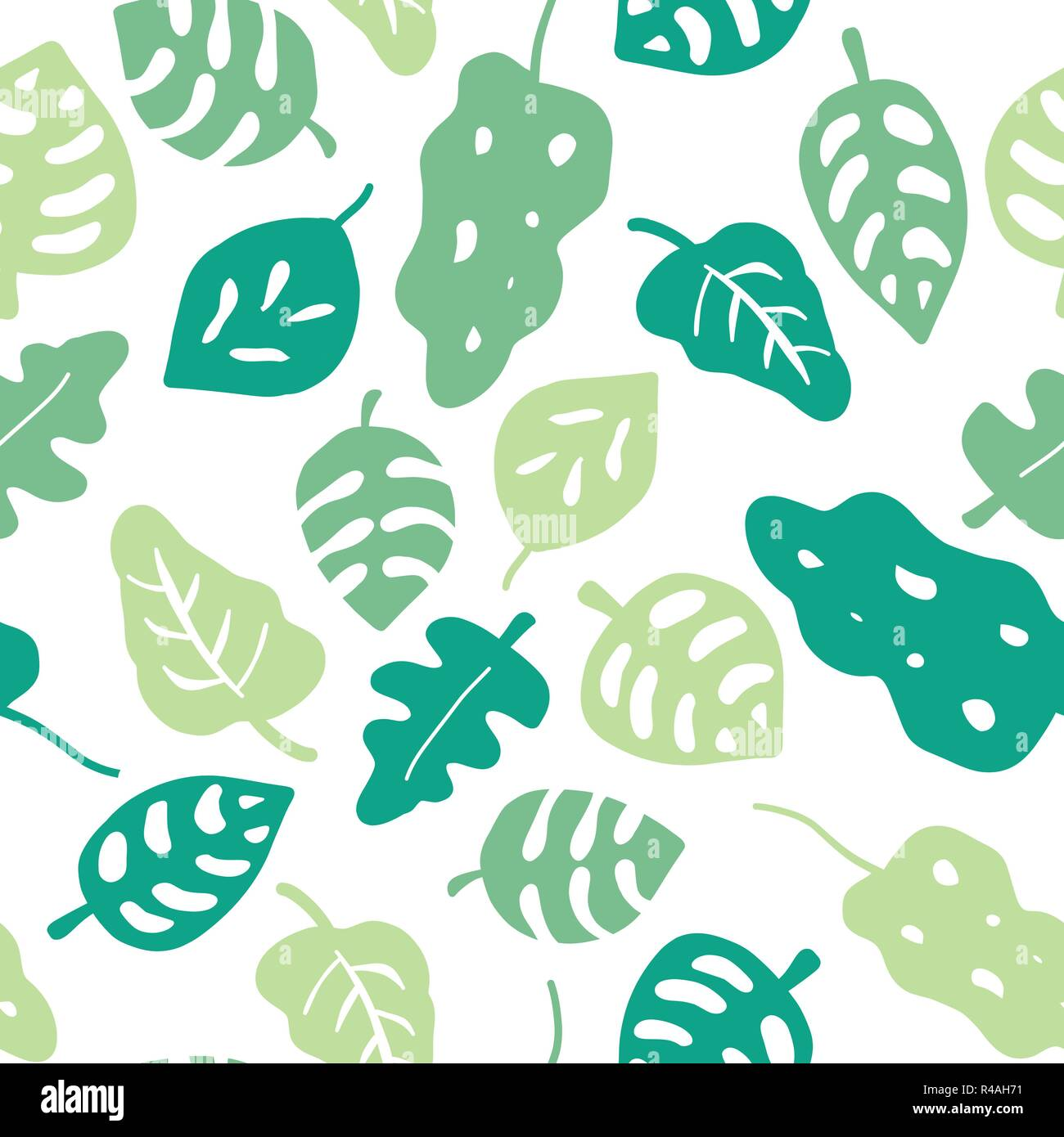 Seamless Vector Background Green Leaves Leaves In Shades Of Green On A White Background Hand Drawn Tropical Leaves Pattern Jungle Leaf Graphic Illustration For Wrapping Web Backgrounds Wallpaper Stock Vector Image