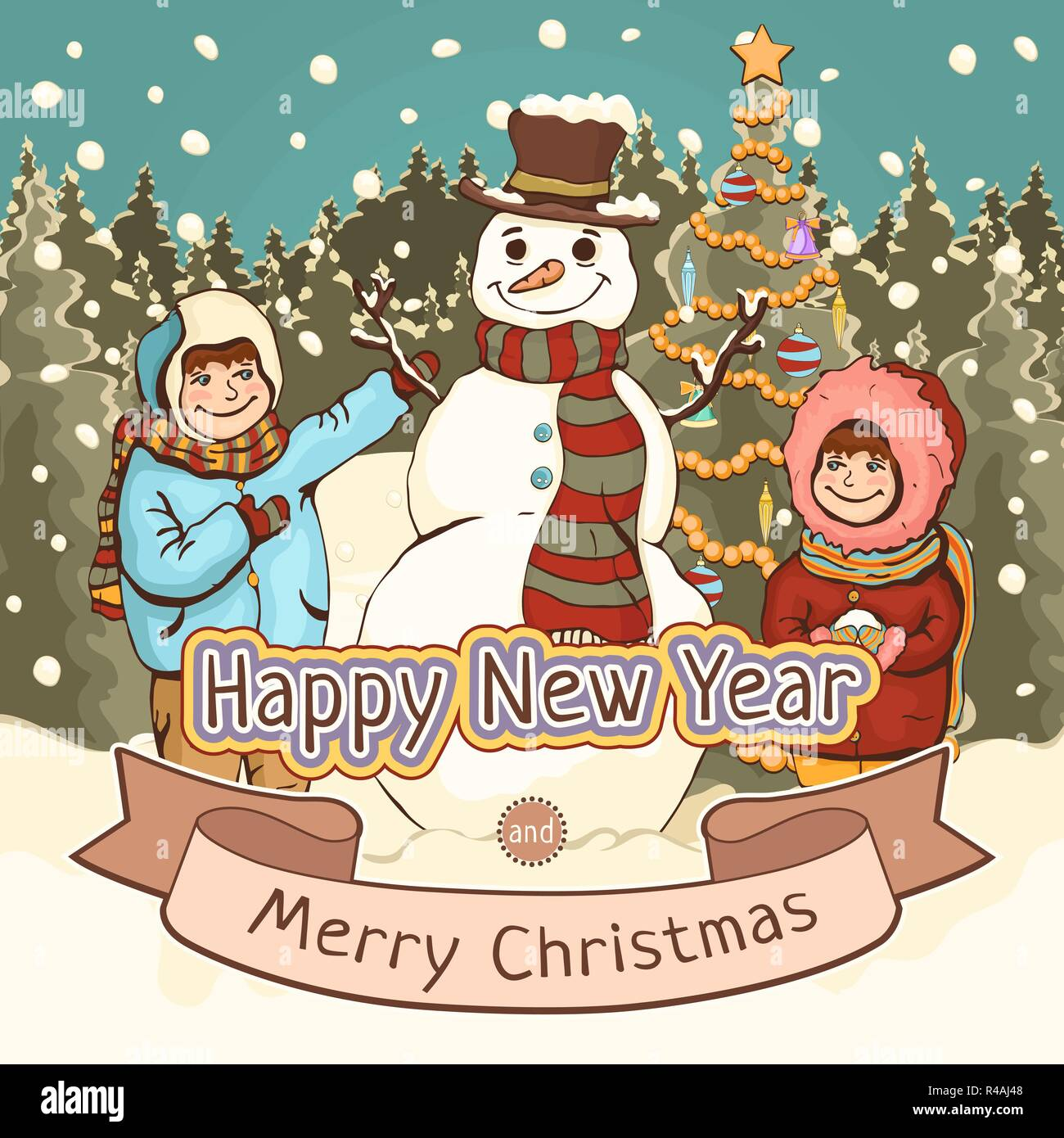 Christmas Day Drawing.Merry Christmas And Happy New Year Card Poster Cartoon