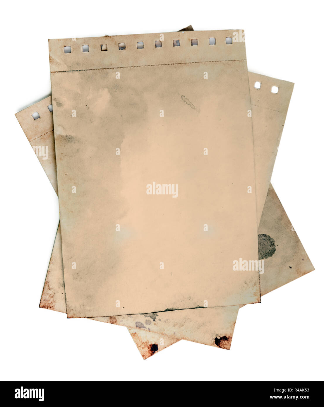 Old torn notepad papers on white background. Clipping path - Stock Image