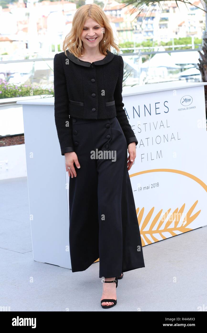 CANNES, FRANCE – MAY 15, 2018: Clemence Poesy at the Talents Adami photocall during the 71st Cannes Film Festival (photo by Mickael Chavet) - Stock Image