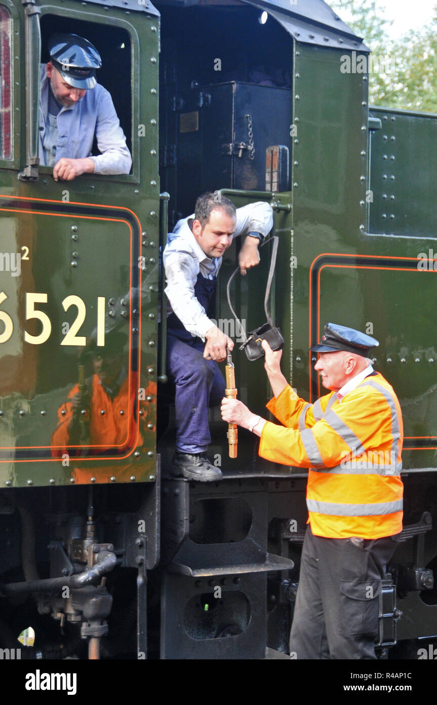 Around the UK Handing over the 'Key', Nene Valley Railway Stock Photo