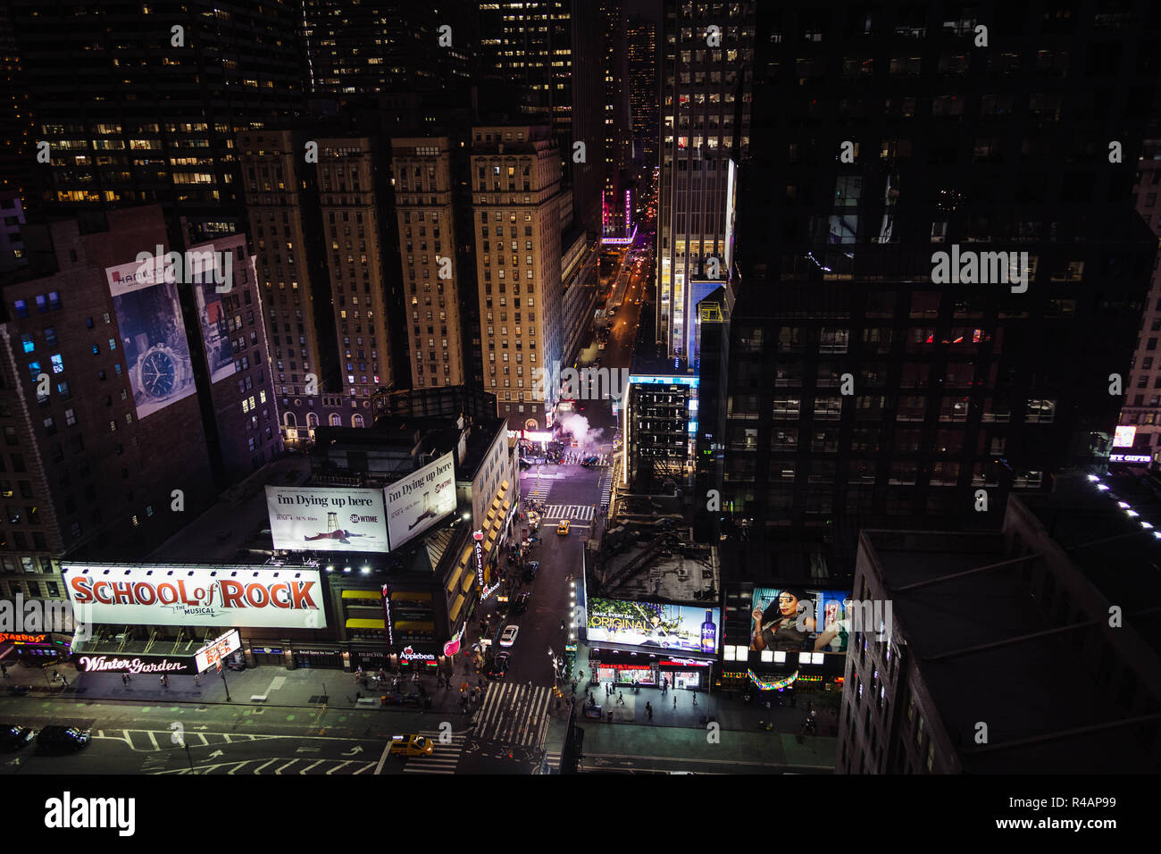 Arial view of midtown Manhattan, New York at night - Stock Image