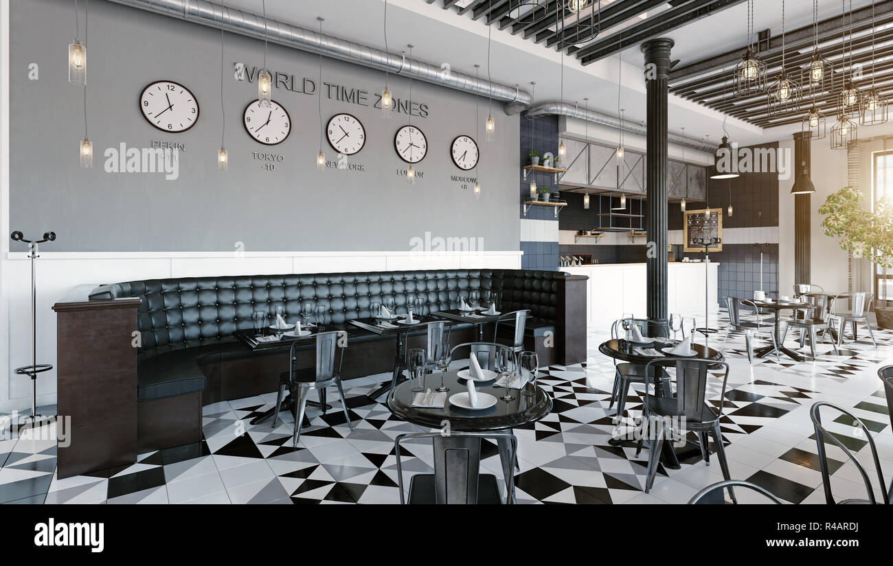 Modern Restaurant Interior Design 3d Rendering Concept Stock Photo Alamy