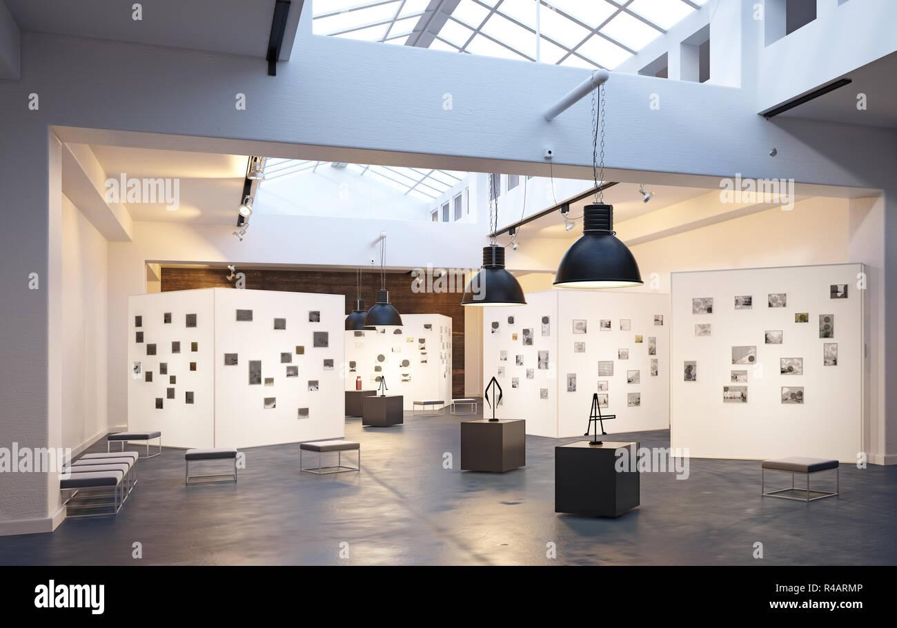 modern museum exhibition interior  3d design concept rendering Stock