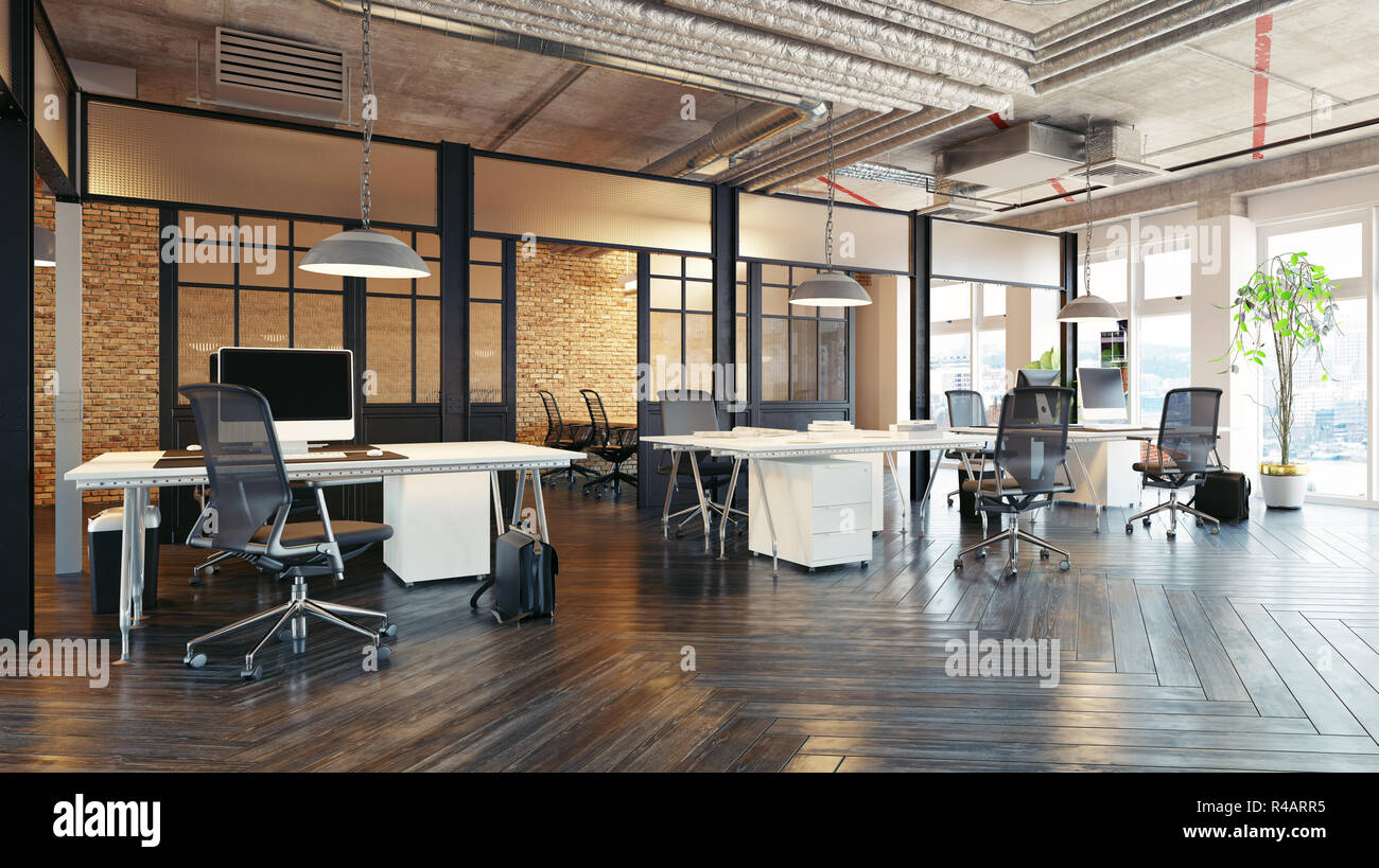 Modern Office Interior Design. Loft Concept 3d Rendering