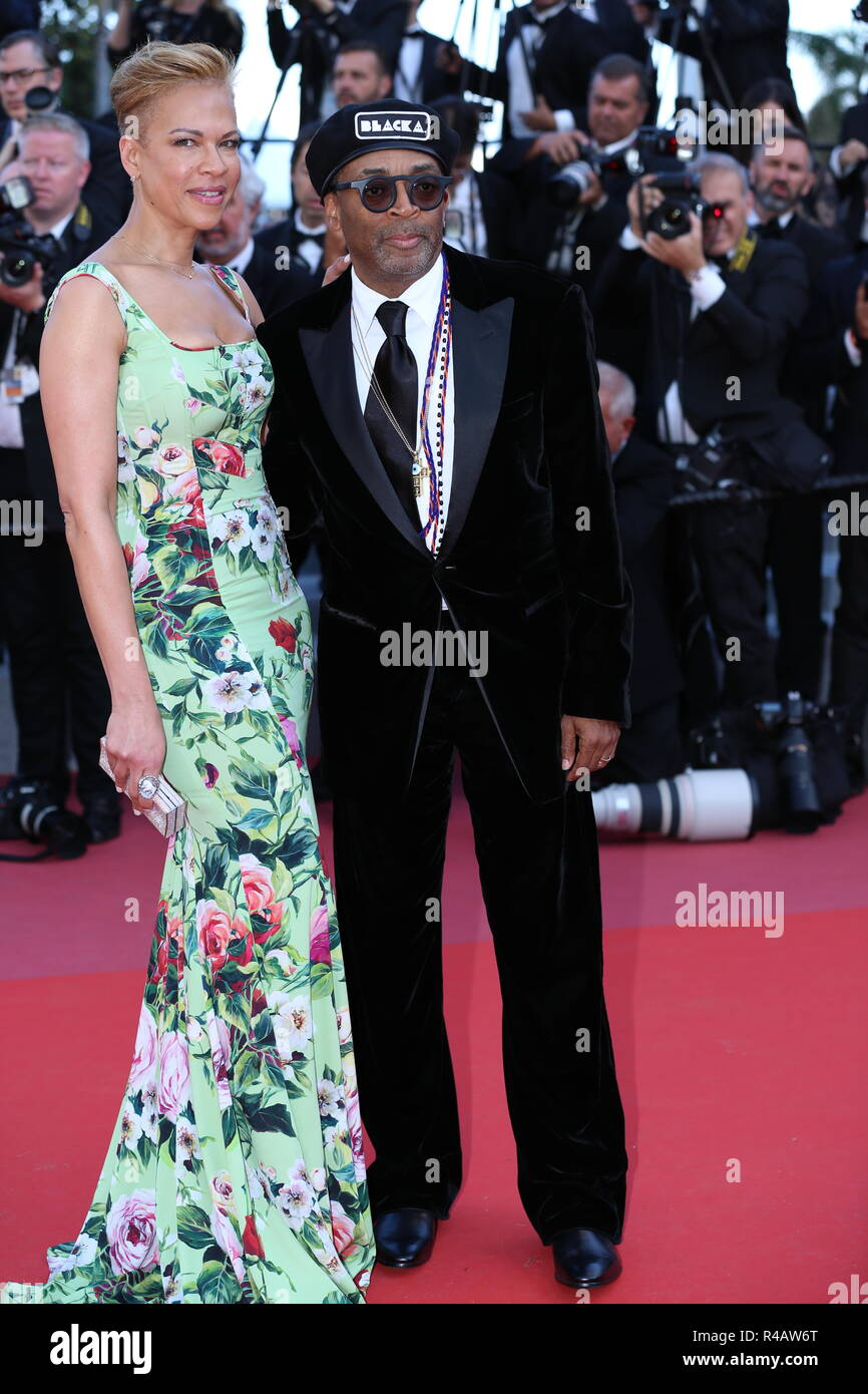 CANNES, FRANCE – MAY 19, 2018: Spike Lee and wife Tonya Lewis Lee walk the red carpet at 'The Man Who Killed Don Quixote' screening - Stock Image