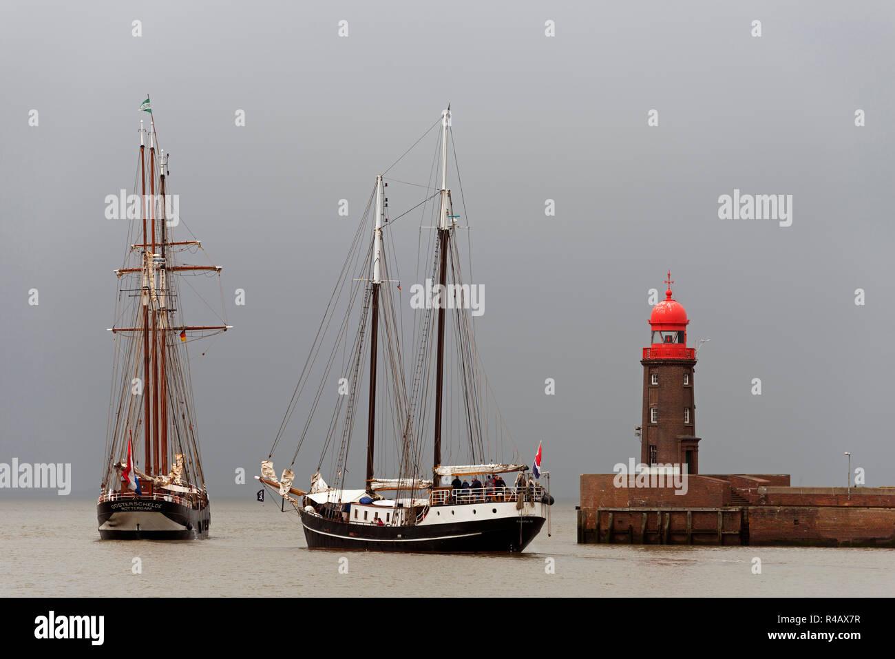 Oosterschelde and Abel Tasman, Sailing ships, Bremerhaven, Lower Saxony, Germany - Stock Image