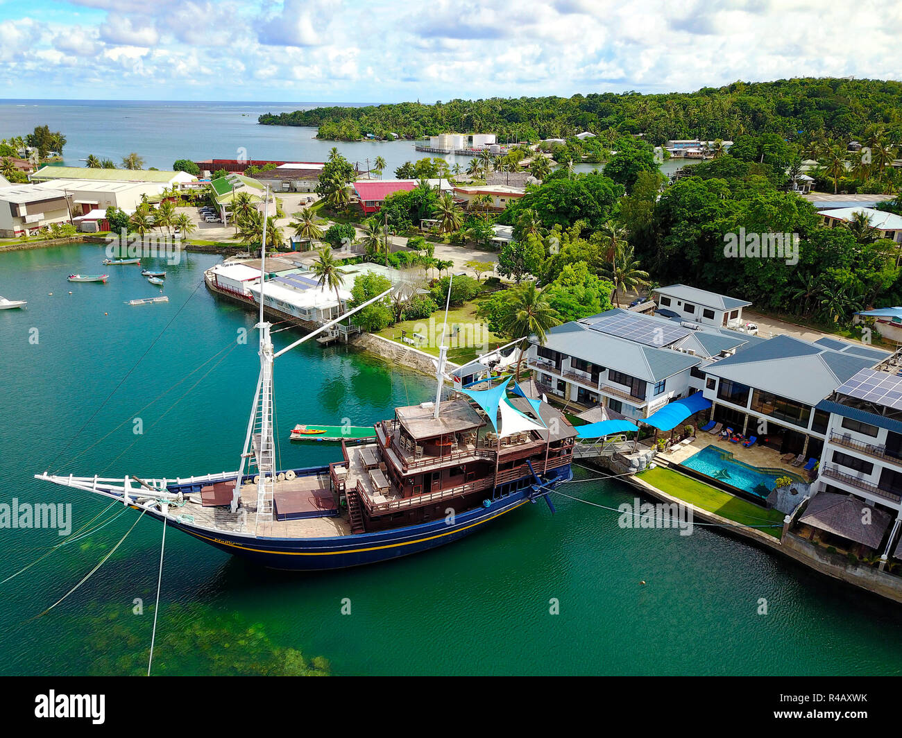 restaurant ship, ancient junk, Manta Ray Bay Resort, Colonia, Yap Island, Caroline islands, pacific, Oceania, Federated states of Micronesia - Stock Image