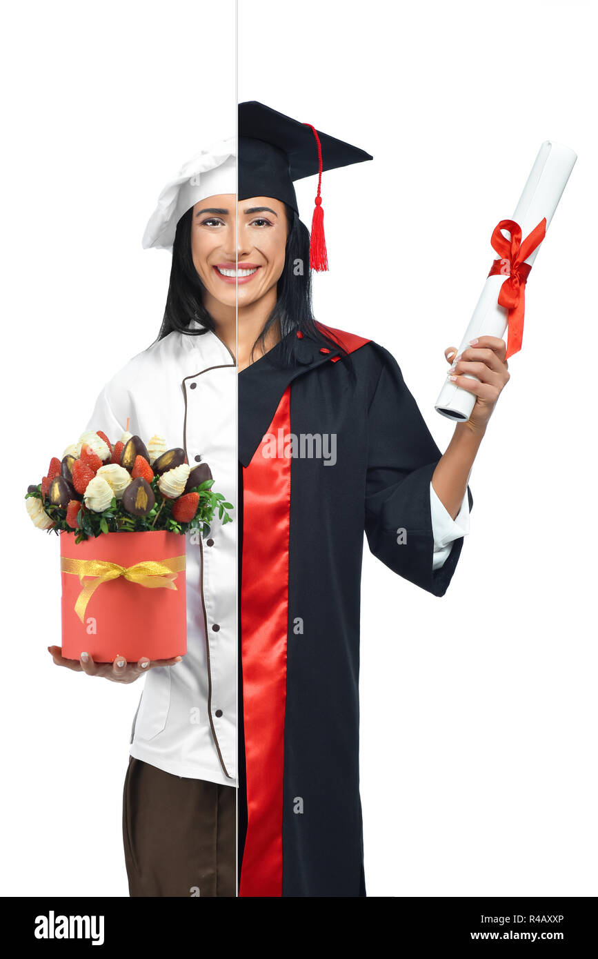 Young girl in two occupations of confectioner and graduate isolated on white background. Graduate wearing mantle, holding diploma and confectioner in uniform holding strawberries in chocolate in box. - Stock Image