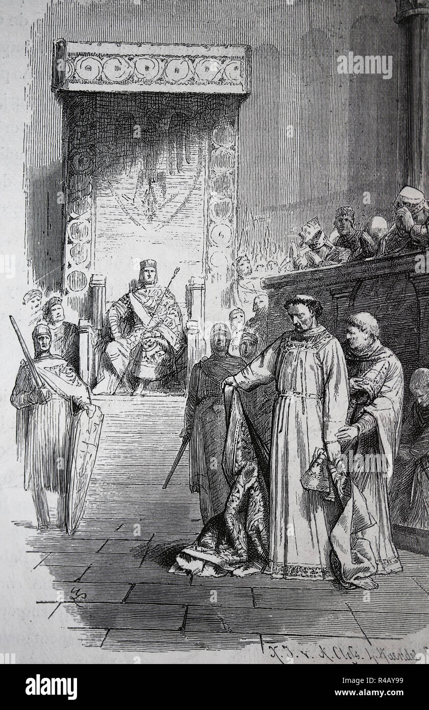 Synod of Sutri, Italy. Chaired by Holy Roman Emperor Henry III, 1046. The objective was resolve disorder over the papacy. Engraving, 1882. - Stock Image