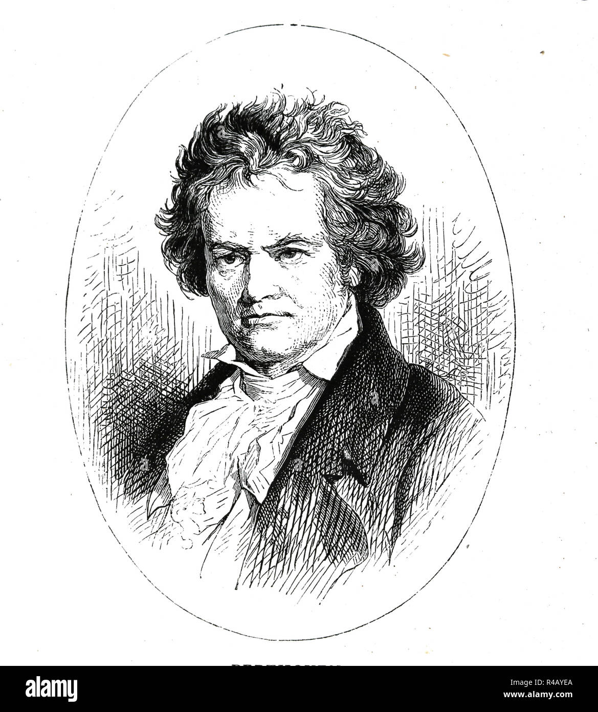 Ludwing van Beethoven (1770-1827). German composer and pianist. Engraving of Germania, 1882. - Stock Image