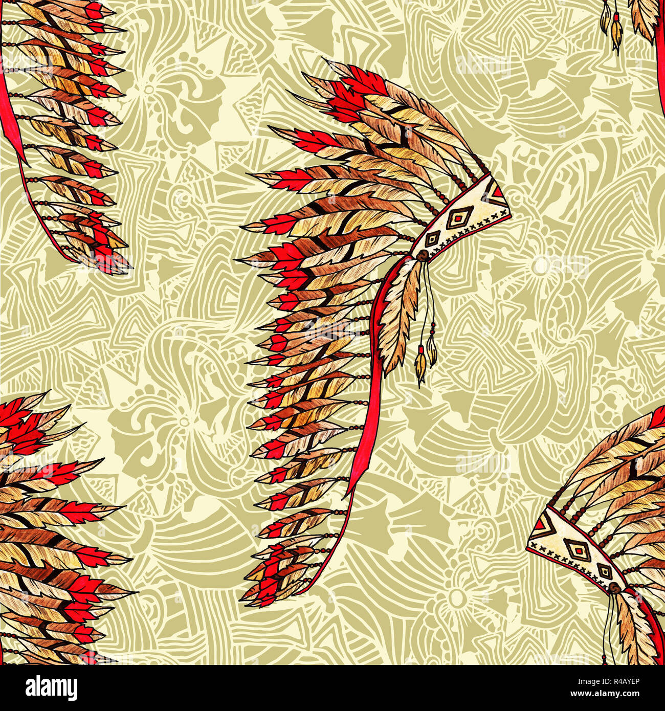 Feather hat seamless pattern. Indian headdress realistic drawing and ethnic ornaments. Native American painted feather warbonnet. Thanksgiving and Halloween costume item. - Stock Image