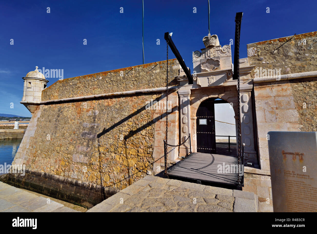Entranceway with drawbridge  of coastal  portuguese fortress - Stock Image