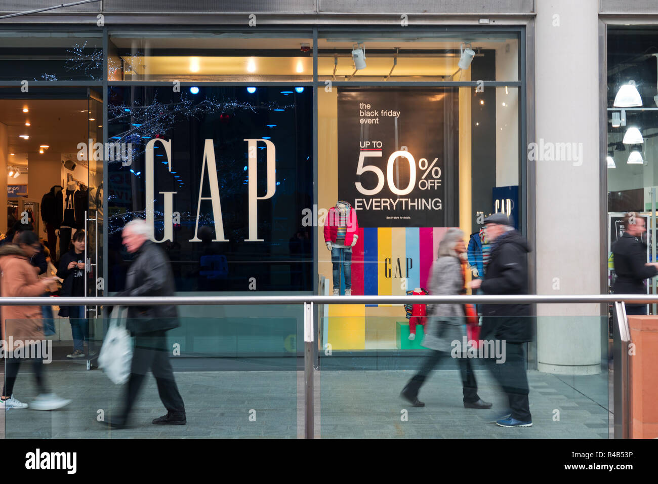 1f98341f1bf Black Friday shoppers walking past a Gap store in Liverpool UK town center.  2018 -