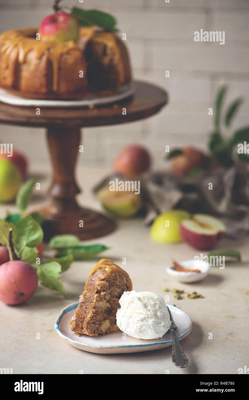 Cardamom Ed Whole Wheat Apple Cake And Honey Caramel Rustic Photo Selective Focus