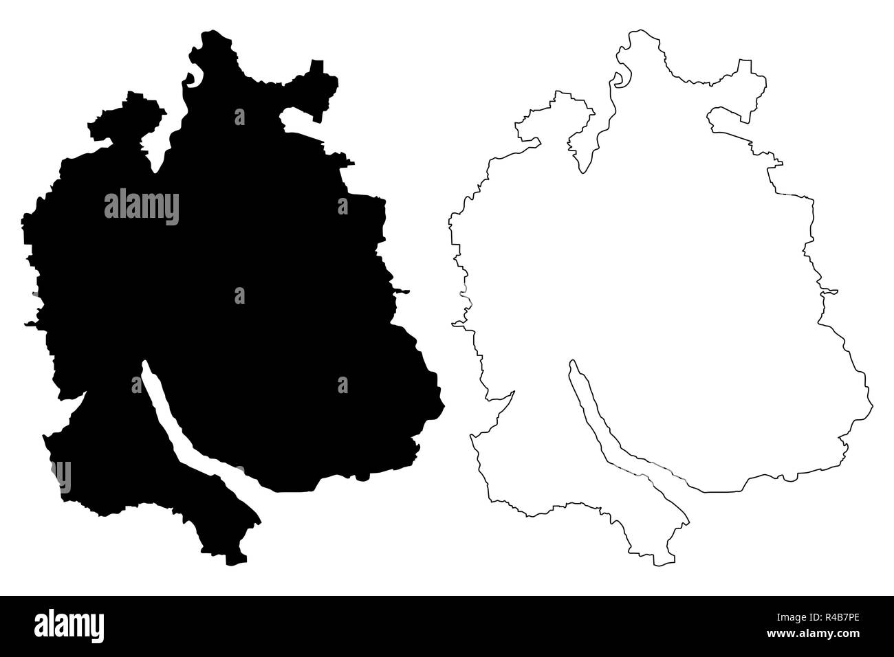 Zurich (Cantons of Switzerland, Swiss cantons, Swiss Confederation) map vector illustration, scribble sketch Canton of Zürich map - Stock Vector