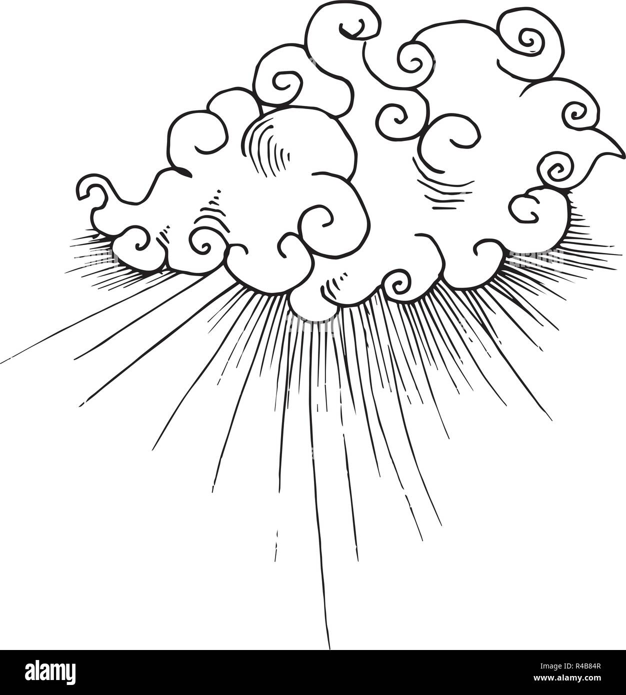 Black and white illustration of Chinese clouds and rays of light. - Stock Image