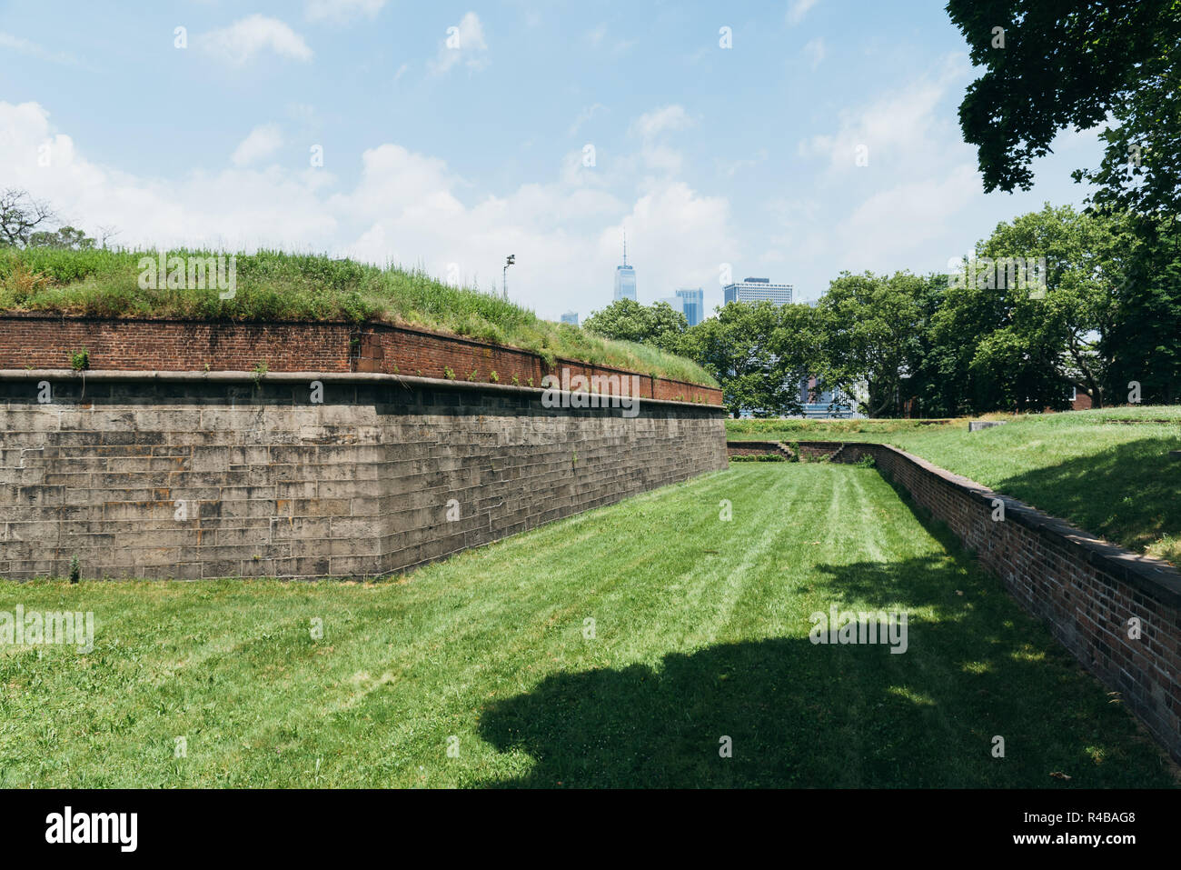 New York City, USA - June 24, 2018: Fort Jay in Governors Island, it is a coastal star fort on Governors Island in New York Harbor - Stock Image