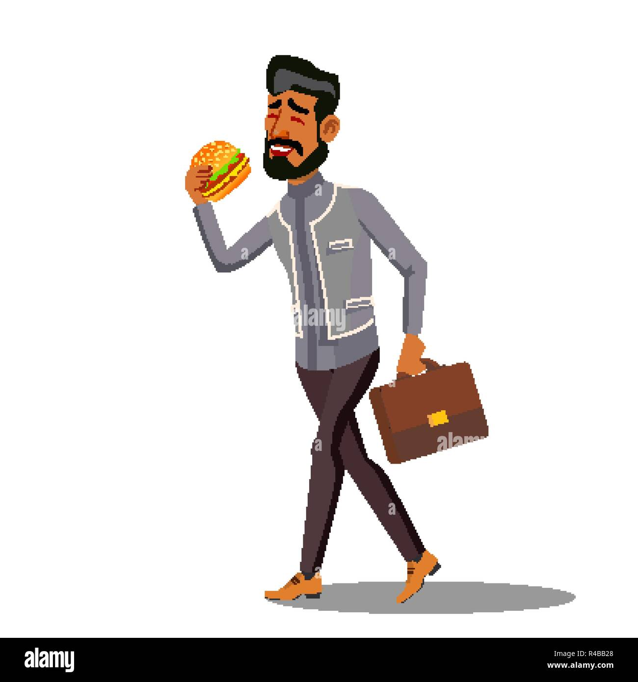 Fast Food, Going Businessman Eating Hamburger Vector. Isolated Cartoon Illustration Stock Vector
