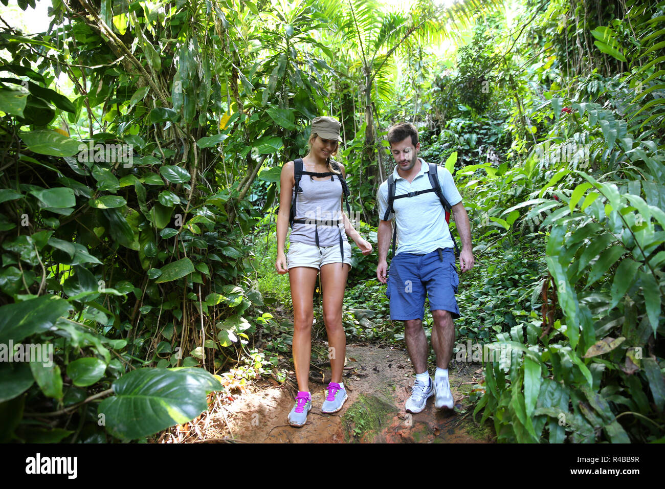 Couple on a trekking day in tropical forest Stock Photo