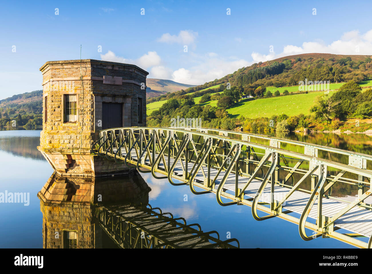 An image of Talybont pumping tower shot on a beautiful morning in early October, Talybont On Usk, Wales, UK. - Stock Image