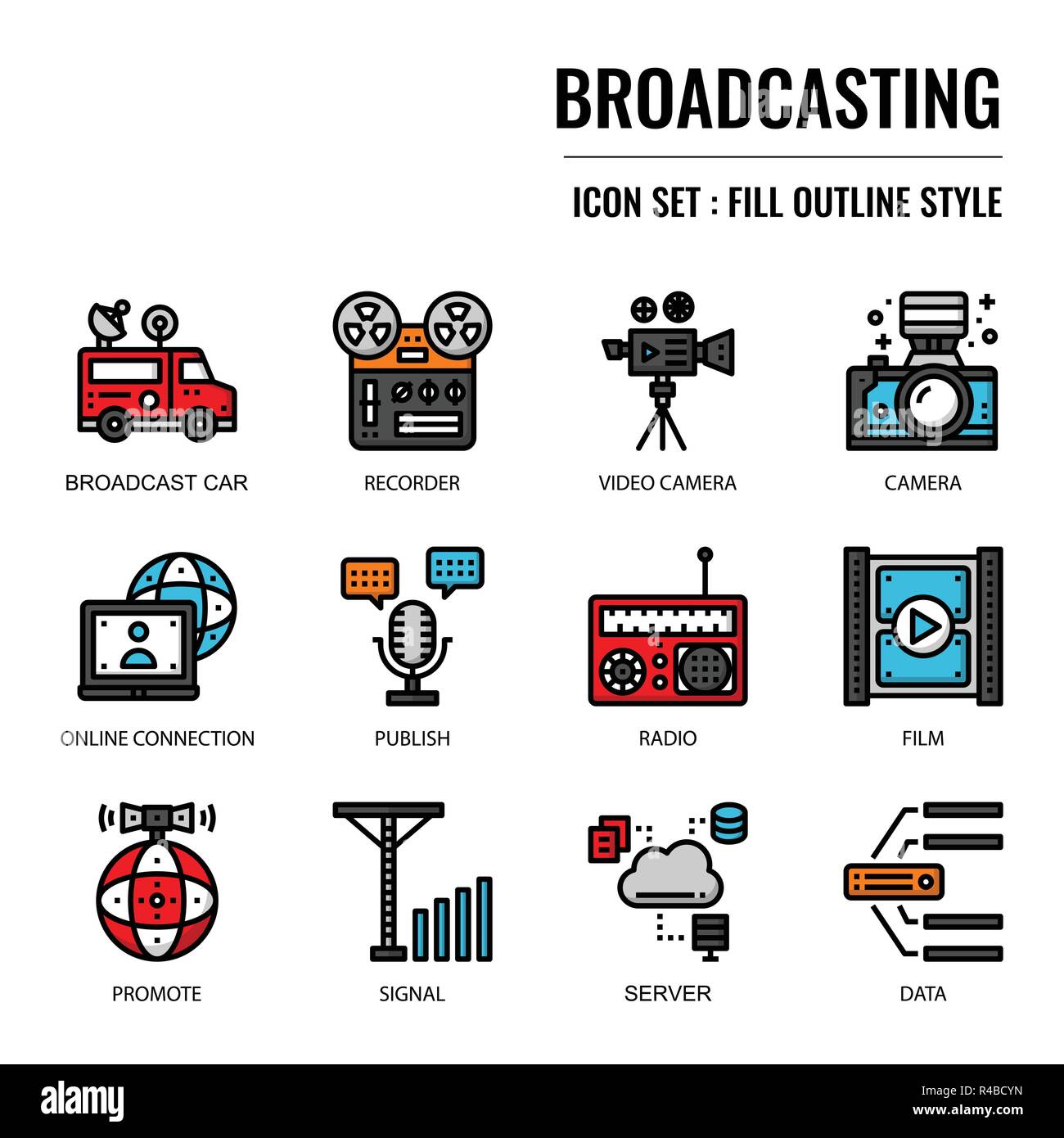 Broadcasting, pixel perfect icon, isolated on white background - Stock Image