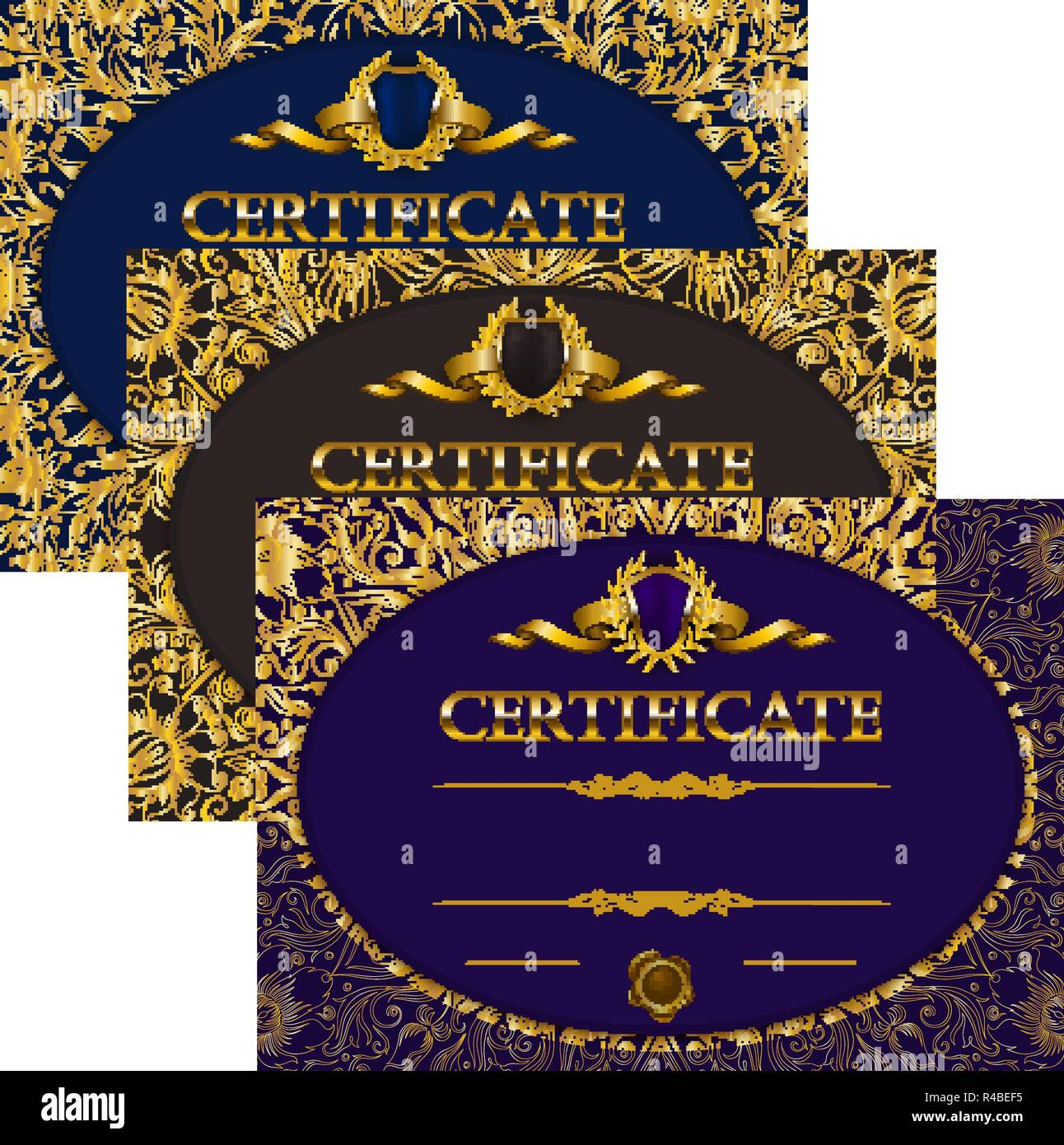 set of elegant templates of diploma with decoration of lace ribbon wax seal shield laurel wreath place for text certificate of achievement educ