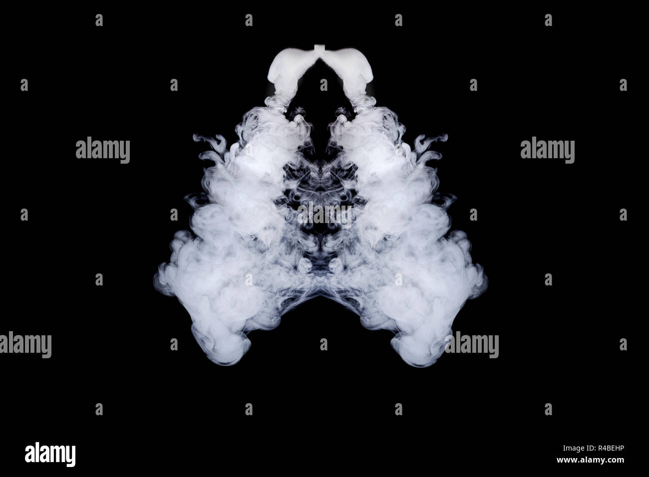 lungs of smoke on an isolated black background - Stock Image