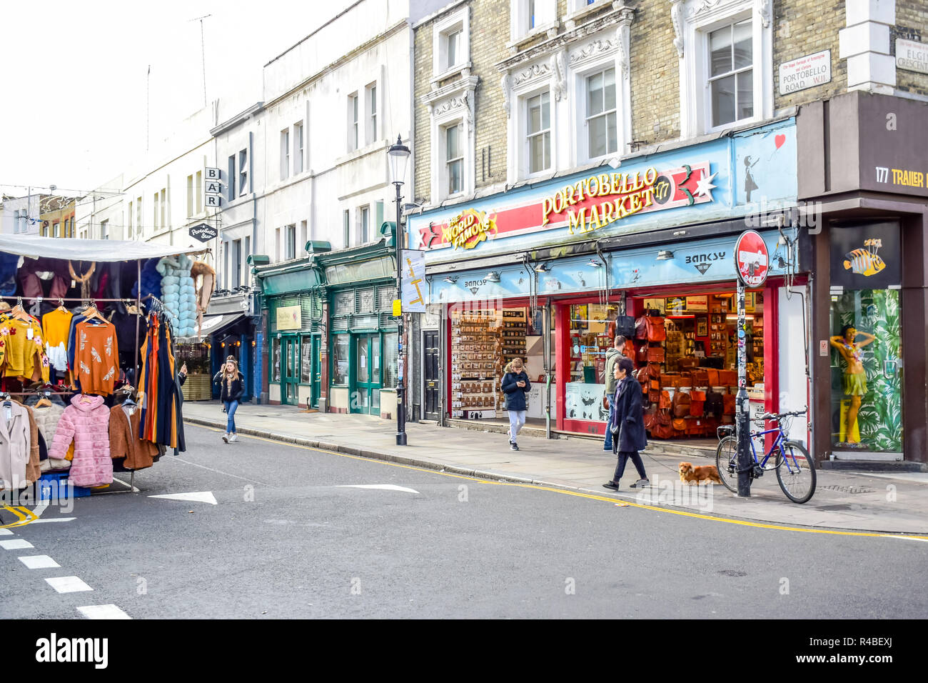 Portobello Road Market, a famous street in the Notting Hill district of Royal Borough of Kensington and Chelsea in west London, England Stock Photo