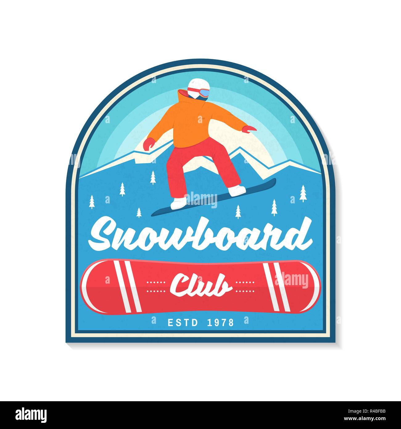 Snowboard Club. Vector illustration. Concept for patch, shirt, print, stamp or tee. Vintage typography design with snowboarder and mountain silhouette. Extreme sport. - Stock Image