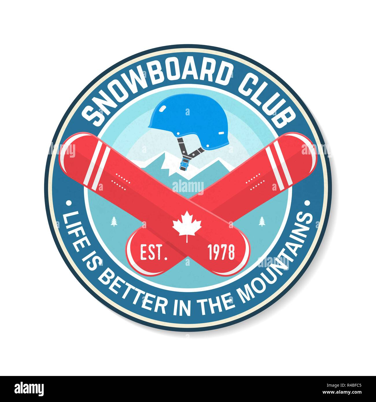 Snowboard Club. Vector illustration. Concept for shirt, patch, print, stamp or tee. Vintage typography design with snowboard and helmet silhouette. Extreme winter sport. - Stock Image