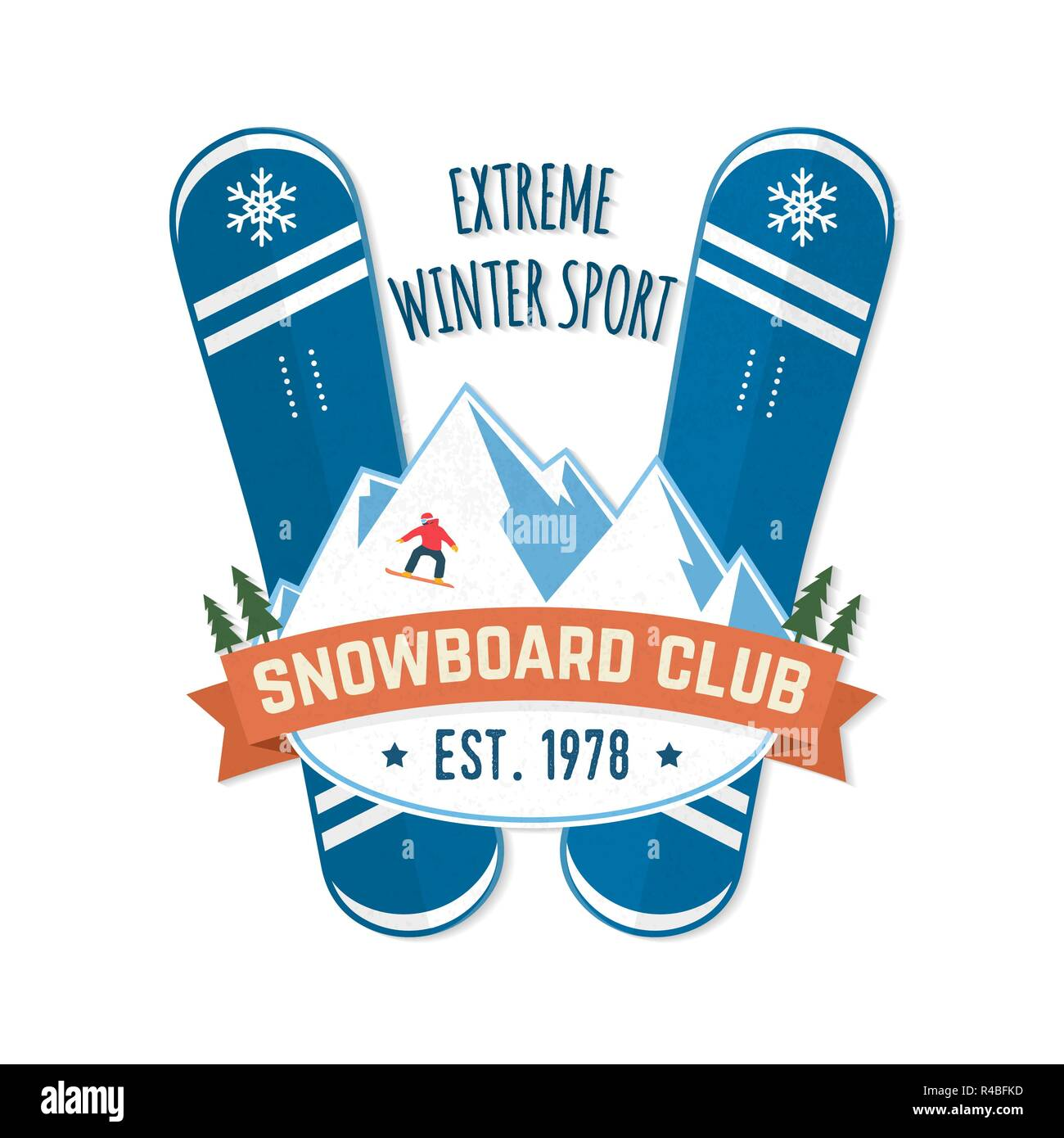 Snowboard Club. Vector illustration. Concept for shirt, patch, print, stamp or tee. Vintage typography design with snowboard and mountain silhouette. Extreme winter sport. - Stock Image
