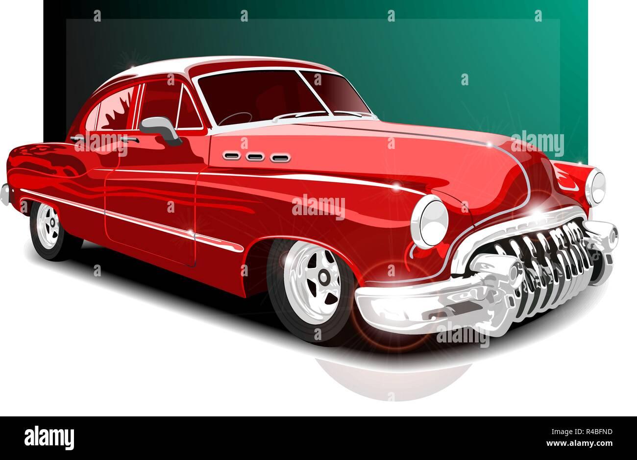 vector illustartion vintage red car. retro car - Stock Vector