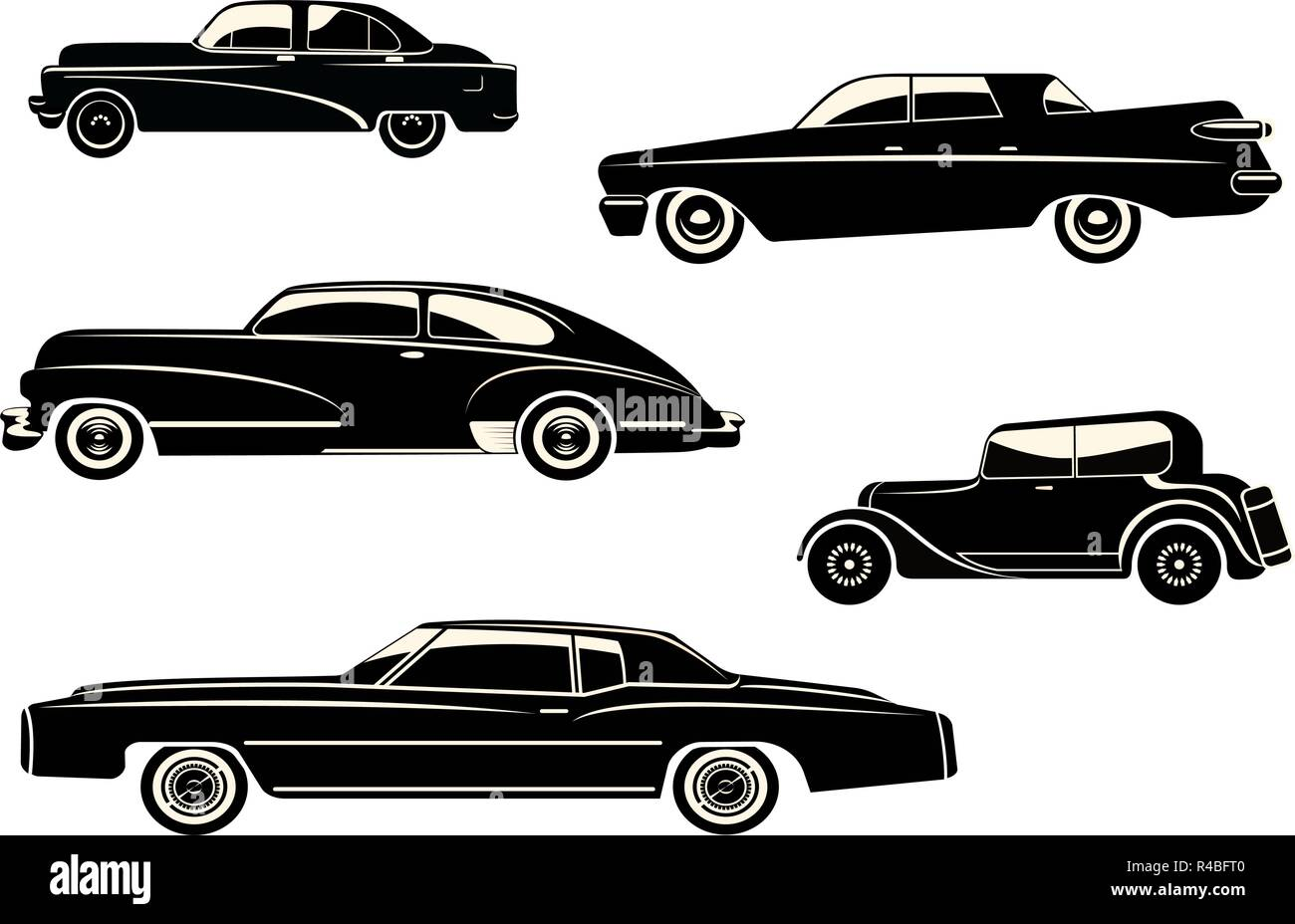 Vector Illustration With Black Retro Car Silhouette Stock Vector Art