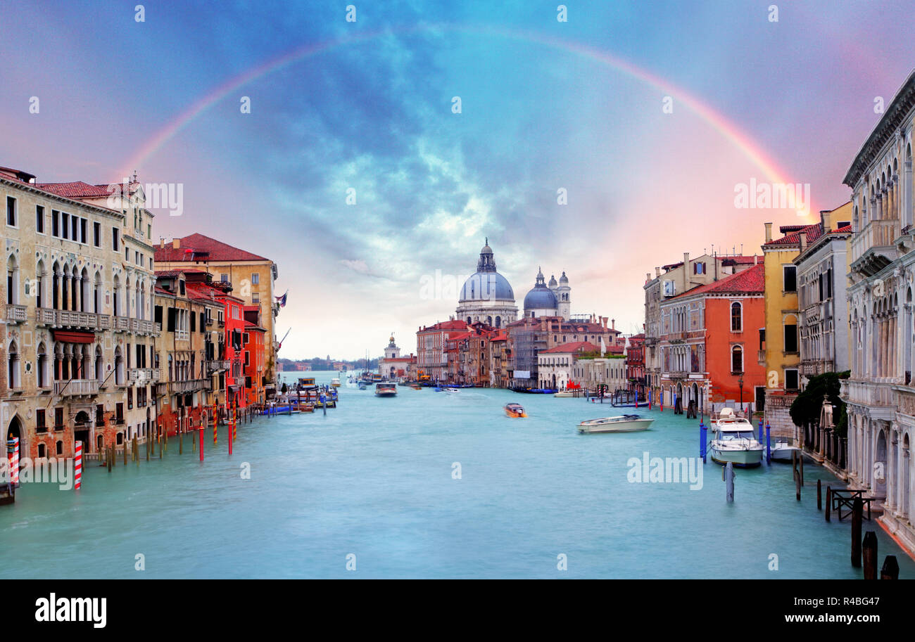 Venice - Rainbow over Grand Canal Stock Photo