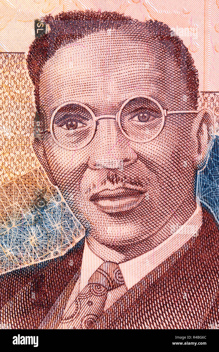 Isaac Theophilus Akunna Wallace-Johnson portrait from Sierra Leonean money - Stock Image