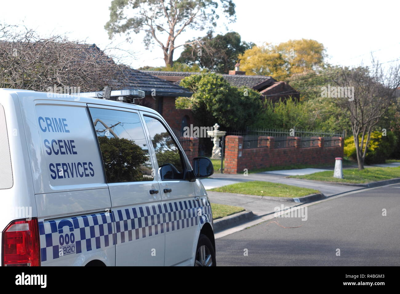 Melbourne, Australia - July25, 2018: Police crime scene services van in an suburban area of Glen Waverley in Melbourne east. - Stock Image