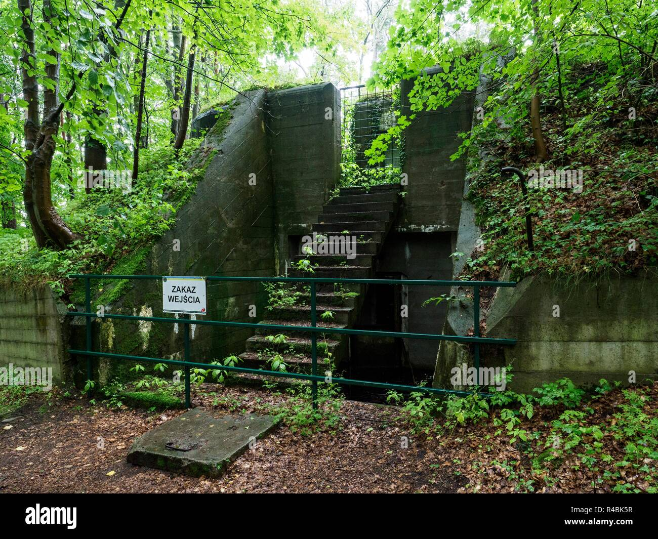 Concrete bunker of the Biala Gora artillery fortress on the Baltic coast. A stairway rises from the railing with a banning sign. (CTK Photo/Roman Krom - Stock Image