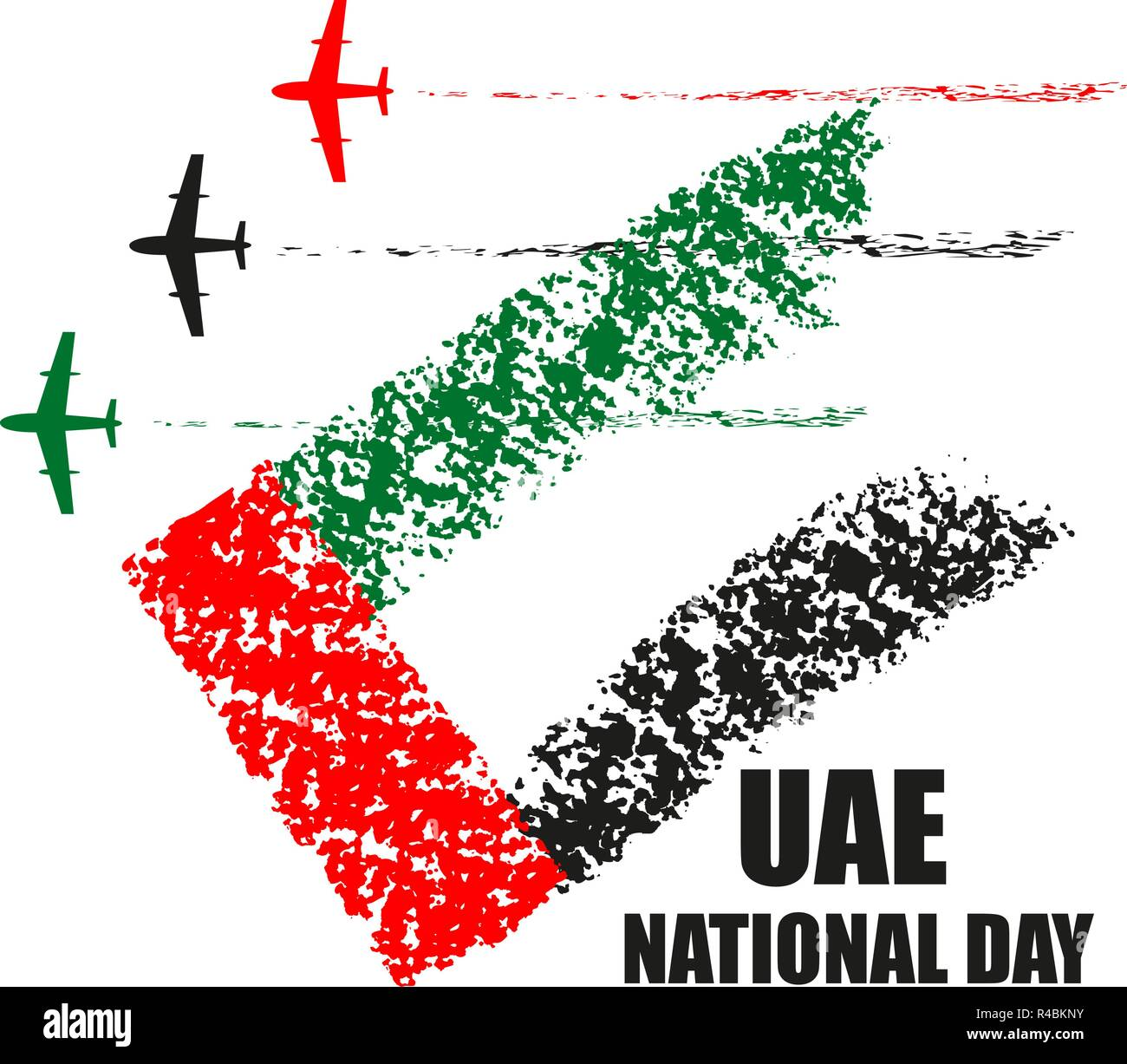 UAE National Day poster with planes performing aerobatics in national flag colors vector illustration. - Stock Image