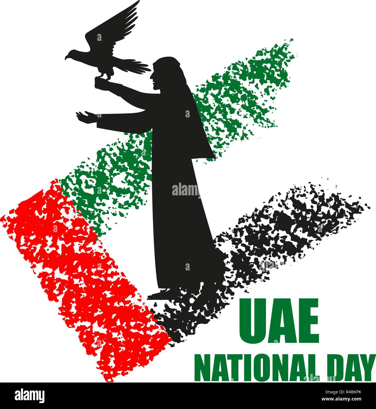 UAE National Day poster with falconer silhouette on national flag background vector illustration. Falcon hunting. Stock Vector